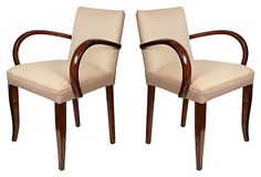 French Art Deco period Armchairs, solid fruit wood in a French polish finish and new upholstery