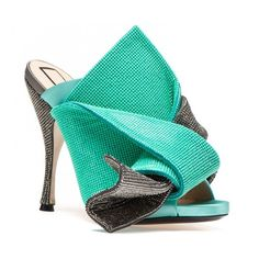 Turquoise and silver glitter bow mules (4.280 RON) ❤ liked on Polyvore featuring shoes, summer footwear, silver glitter shoes, turquoise blue shoes, summer shoes and silver bow shoes