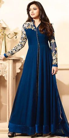 Madhubala Georgette Blue Anarkali Suit With Dupatta. Mode Bollywood, Bollywood Fashion, Hijab Fashion, Fashion Dresses, Bollywood Style, Pakistani Outfits, Indian Outfits, Kaftan, Hijab Stile
