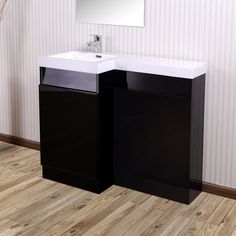 Aston Left Hand Black Gloss Bathroom White Basin Vanity Unit & Toilet Unit - 1000mm