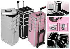 Professional Travel Makeup Case Trolley Storage Pink Black Silver Organizer NEW