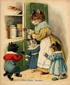 "From ""De Drie Katjes"" (The three kittens) by Alice Becht-Dentz, illustrated by G. H. Thompson; H.J.W. Becht, Amsterdam (1905)"