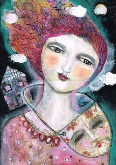 Mixed Media Painting Original Modern Folk Art  collage Expressive woman dream  mask ethereal