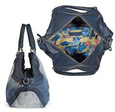 Liebeskind Berlin Womens 2014 Spring Summer Made in Denim Finds - Atlas Elephant Denim Jeans Leather Mix Handbag - Fashion Style