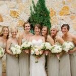Champagne bridesmaids dresses with hyndragea bouquet-bride with garden roses and fall peonies. Nature's Point.