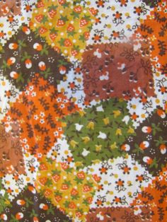 Vintage Fall Calico Patchwork Fabric 60s 70s  Fabric by SundayTown, $10.00