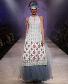 Anju Modi Ivory Printed Kurti with Powder Blue Skirt