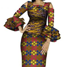 African Print Ruffles Sleeve Tops and Skirt Sets Knee-length clothing – DRESS THE LADIES Couples African Outfits, African Wear Dresses, 2 Piece Skirt Set, Kente Styles, Ankara Dress, Malm, Ruffle Sleeve, Traditional Outfits, Ruffles