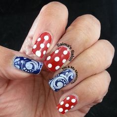 """""""My Manicure: Dated Dots  This mani was done many days ago, To match a frock from years gone by, A 50s dotty ensemble of blue spots,  The dots together…"""""""