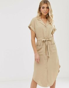 Buy Parallel Lines soft utility shirt dress with tie waist in beige at ASOS. With free delivery and return options (Ts&Cs apply), online shopping has never been so easy. Get the latest trends with ASOS now. Robes Country, Country Dresses, Pop Fashion, Fashion Pants, Fashion Outfits, Womens Fashion, Swag Fashion, Fashion Ideas, Modest Dresses