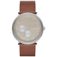 Buy Skagen SKW6168 Men's Hald Leather Strap Watch, Brown/Grey Online at johnlewis.com
