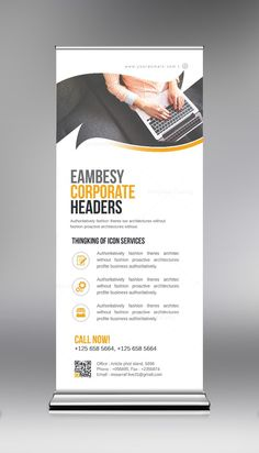 PSD Business Roll-Up Template. This elegant and well organized corporate roll-up banner template is in PSD format. The Roll up banner template is suitable to promote your business Standee Design, Banner Design, Banner Template, Rollup Design, Rollup Banner, Banner Stands, Graphic Design Templates, Business Flyer Templates, Business Events