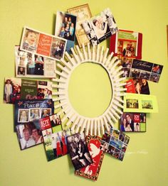 DIY Clothes Pin Frame: Paint clothes pins for added affect. Nice idea for displaying photographs Clothes Pin Frame, Clothes Pin Wreath, Clothes Pegs, Cute Crafts, Diy And Crafts, Arts And Crafts, Diy Christmas Cards, Christmas Crafts, Xmas Cards