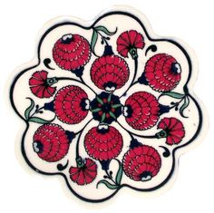 Ceramic - Çini Trivet / Coaster (Nihale) - Small - İznik Çini Tiles - Turkish Grocery & Food, Turkish Music, Turkish Books, Home Decoration, Evil Eyes, Jewelries, Turkish Soccer Teams