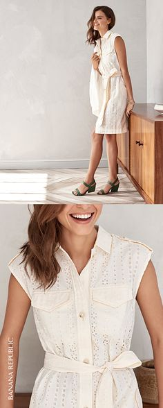 Cool, cottony eyelet in the ultimate easy shirt dress shape just might be your favorite dress this summer. Add a blazer for work, heels for nights out or metallic flats for wherever the weekend takes you. Get this Banana Republic dress now.