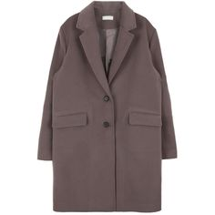 Single-Breasted Straight-Cut Coat (340 DKK) ❤ liked on Polyvore featuring outerwear, coats, single breasted coat, red coat, long sleeve coat and bunny coat