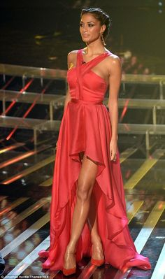 High style: Nicole Scherzinger wears a red Grecian style dress from Sandra Mansour on The XFactor