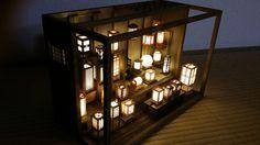 HTF Lighting Wooden Miniature Art Traditional Rare Paper Lantern Shop FS Japan #PRECO