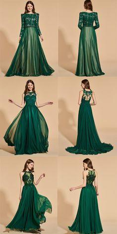 Greenery lace prom dresses