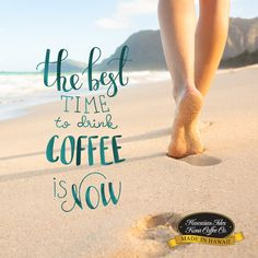 The Best Time To Drink Coffee Is Now! - Kona Coffee Memes and Quotes for Coffee Lovers from Hawaiian Isles Kona Coffee Company. Honolulu, Hawaii. Cute and Funny Coffee Sayings, Truths and Humor for Breakfast, Morning Time and Coffee Break. Aloha!