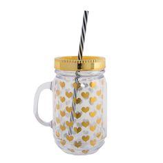 le verre mason jar 450ml avec paille homemade est muni d 39 une poign e pour une meilleure prise en. Black Bedroom Furniture Sets. Home Design Ideas