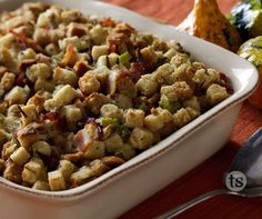 Use this stuffing recipe, add leftover turkey (if there's gravy or cranberries, add them). Then just heat and eat.