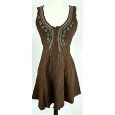 Free People Boho tank Dress in Brown Perfect bohemian style Dress with a tie waist and beautiful embellishments! Free People Dresses Mini