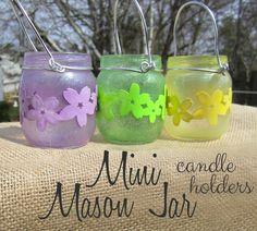 365 Designs: MINI MASON JAR TEA LIGHT CANDLE HOLDERS with glitter paint and cherry blossom trim decoupage