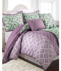 Nanshing Abigail 5-Piece Bedding Comforter Set. #purple #bedding #purplegreen #afflnk