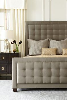 Bernhardt | Jet Set Upholstered Panel Bed and Bachelor's Chest