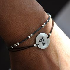 WORD bracelet  oOo Hand stamped - Let it Be- bracelet on BLACK waxed Irish Linen cord on Etsy, Sold