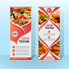 Two Food Roll Up Vector Template Bunting Banner, Web Banner, Banner Template, Standing Banner Design, Abstract Template, Vector Photo, Flyer Design, 2d, Rolls