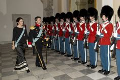 Crown Princess Mary of Denmark and Crown Prince Frederik of Denmark attend a New Year's Levee held by Queen Margrethe of Denmark for officers from...