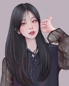 Dark Anime Girl, Cool Anime Girl, Beautiful Anime Girl, Anime Art Girl, Manga Girl, Cartoon Girl Images, Cartoon Art Styles, Girl Cartoon, Girl Drawing Sketches