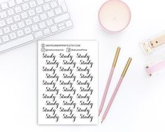 Study elegant script stickers: study, typography, cursive script, black and white, word stickers Cursive Script, Mini Hands, Beautiful Fonts, Weekly Planner, Planner Stickers, Hand Lettering, How To Draw Hands, Etsy Seller, Typography