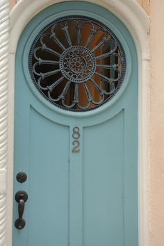 """Haint Blue Charleston Door - """"Haint Blue is meant to look like water and keep…"""