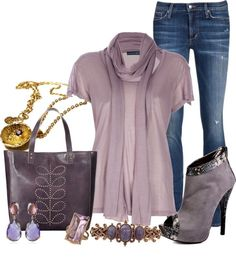 """Untitled #372"" by lisamoran on Polyvore Love the dusty plum and amethyst"