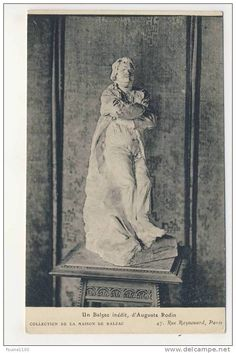 Auguste Rodin, platre della statua di Balzac, cartolina d'epoca.
