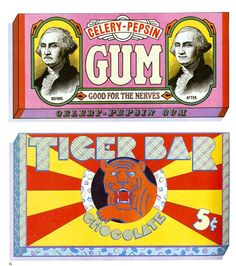 Gum packaging illustrations, fanciful designs for real products, are credited to Seymour Chwast and Milton Glaser.