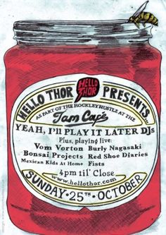 Poster (by Alison Hedley) for Hello Thor Records' all-dayer at the Jam Cafe, Nottingham #gigposter