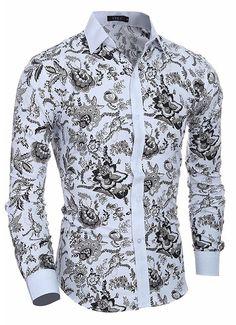 10897142d0 Camisa Casual   Social Moderna - Desenho Floral Clássico