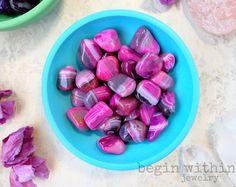 Ágata rosa caído piedras preciosas | Caídas de cristal | Pulido de ágata | Reiki cristales, cristal curativo
