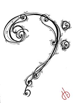 This is paired with 'Treble-G Clef' [link] moreswirlssssss ------------------- Tattoo design © Diane G. Bass-F Clef Music Tattoos, Arrow Tattoos, Body Art Tattoos, New Tattoos, Cool Tattoos, Tatoos, Cello Tattoo, Treble Clef Tattoo, I Tattoo