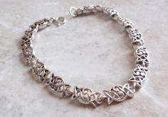 Sterling Silver Celtic Link Bracelet Trinity 7.25 Inches Vintage AT0008