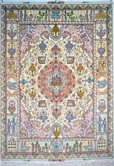 Nami Tabriz Persian Rug Silk Persian Rug - Item# EK117  Size: 208 x 150 (cm)      6' 9 x 4' 11 (ft)