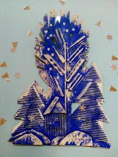 Visual Art Lessons, Art Lessons For Kids, Art Lessons Elementary, Art For Kids, Contemporary Christmas Trees, Third Grade Art, 3d Art Projects, Facebook Art, Cardboard Art