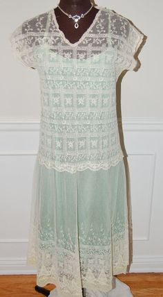 1920s / 20s VIntage Ivory and Cream Tambour Lace by Maudelynn, $298.00