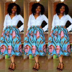 Kadiatou  Mid Length Skirt van THEAFRICANSHOP op Etsy, £30,00