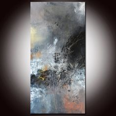 """Black and White Art, Abstract Painting 36"""", Black abstract, Large abstract painting, Large Mixed Media, Original Painting on Etsy, $250.00"""