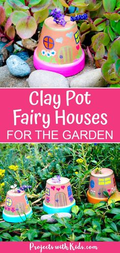 , These fairy houses are just adorable and so easy to make! Kids will love creating these painted fairy houses and finding special places for them in th. , Easy Painted Fairy Houses for the Garden Garden Crafts For Kids, Fairy Crafts, Craft Projects For Kids, Fun Crafts For Kids, Garden Projects, Diy For Kids, Fun Things For Kids, Kids Outdoor Crafts, Fairy Gardens For Kids